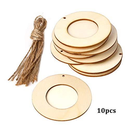 Hylotele 10 stücke Mini runde Holz bilderrahmen Bild Halter mit hängenden Seil DIY Holz Handwerk für wanddekoration