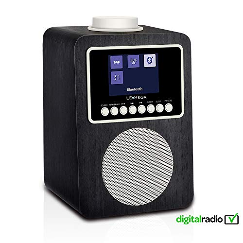 Radio and Wireless Speaker with DAB, DAB+, FM Radio, Bluetooth, Alarm,Sleep, Snooze, Clock, AUX, USB Charging (Schwarz) ()
