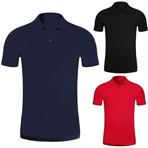 Malloom Polo T-Shirt Button Été Homme Manches Courtes Comfy Solid Blouse Slim Top