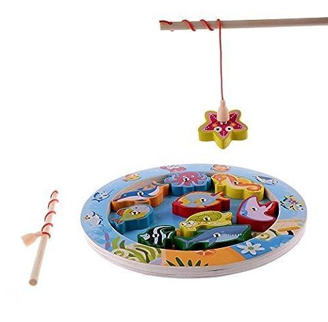 10-teiliges Fische Grundbildungsentwicklung aus Holz Magnetic Bad Angeln Hubtabelle Spiel, Geburtstagsgeschenk Spielzeug für Alter 3 4 5 Jahre altes Kind Baby Kleinkind Jungen Mädchen Magnet Spielzeug