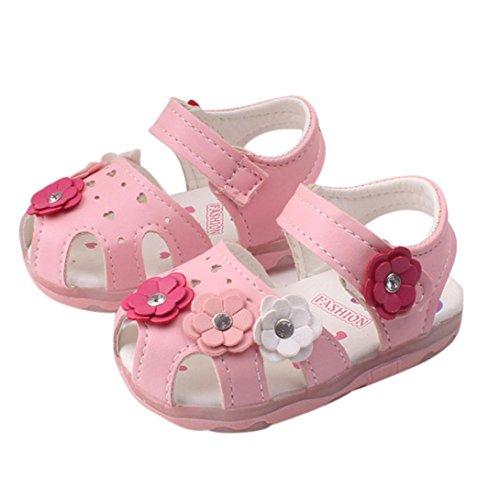 Zapatos 1-3 A?os, JiaMeng Beb¨¦ Ni?as Moda Zapatillas Verano Sandalias Casuales Zapatos Sandalias con Luces Suaves y Suela de Princesa Zapatos de Beb¨¦(Rosado,17)