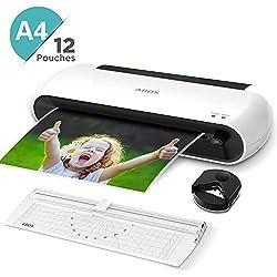 ABOX Plastifieuse A4 A5 A7, OL145 Machine à Plastifier Thermique 2 Modes 300mm/min avec Fonction ABS, Coin Arrondi, Massicot et 12 Pochettes de Plastification, Chauffage Rapide et Sans Bulles