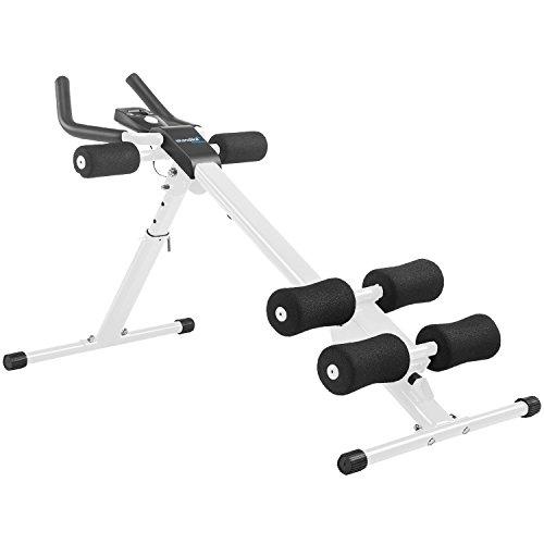 skandika AB Grinder/AB Plank Profi Bauchtrainer mit Trainingscomputer, 5-facher Schwierigkeitsgrad, zusammenklappbar, weiß, 1255 x 545 x 205 cm