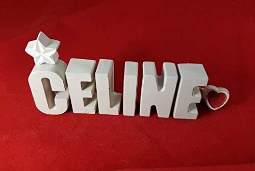 Beton, Steinguss Buchstaben 3D Deko Namen CELINE mit Stern und Herzklammer als Geschenk verpackt! Ein ausgefallenes Geschenk zur Geburt, Taufe, Geburtstag, Namenstag oder auch zu Weihnachten.