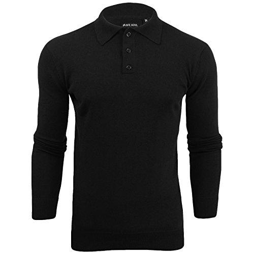 Herren Geschnittet Polohemd Brave Soul Schlitz Kragen Pulli - Schwarz, Herren, Small (Shirt Knit Pique)
