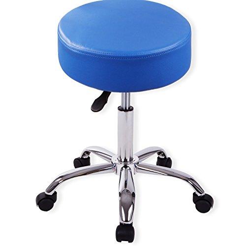 Kesser® Drehstuhl Rollhocker ✓ Arbeitshocker ✓ Drehhocker ✓ Praxishocker | dicke Polsterung | Stuhl | Sitz | Modell: Blau ohne Lehne