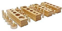 New Educational Wooden Toy Montessori Cylinder Socket Early Development Senses