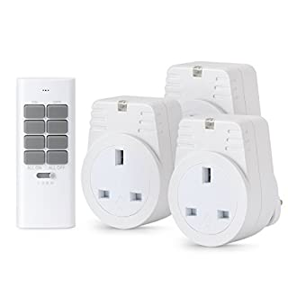 Lunvon 12 Programmable Channels 1000 Watt 3 Outlets 1 Remote Wireless Remote Control Sockets Electrical Plug Outlet Switch, Light, Household Appliances, Operating Range Up To 30 Meter /100 Foot, White