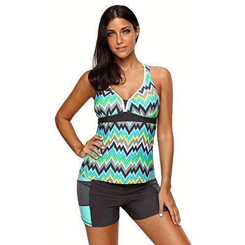 YUYUGO Damen Badeanzug, gestreift, Oberteil mit Boyshorts, 2 Stück Tankini Top Beachwear Gr. 50, grün -