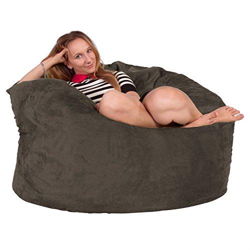 Lounge Lizard - Wildleder - Riesen Sitzsack Sofa – Riesen Sitzsack, Velours, großes Sofa, Relax Matratze, UK - Anthrazit