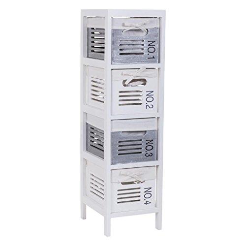 Creaciones meng sifonier 4 tiroirs laqué, MDF, Blanc, 25 x 29 x 90 cm