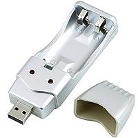 JullyeleESgant Batería NiMH Recargable AA AAA Cargador USB de Alta Capacidad AAA/AA * 2 = 160mA USB DC5V Entrada Puerto USB/Convertidor de CA con alimentación