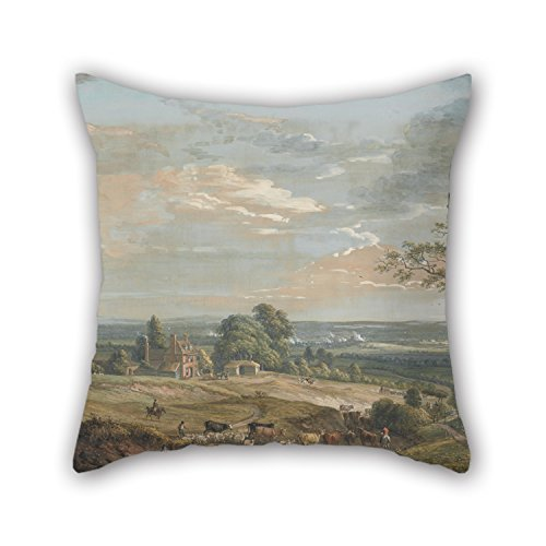 beautifulseason Oil Painting Paul Sandby - A Distant View of Maidstone, from Lower Bell Inn, Boxley Hill Pillow Cases 16 X 16 Inches/40 by 40 cm Gift or Decor for Son,Dinning Room,Play Room,kitch - Bell Hill