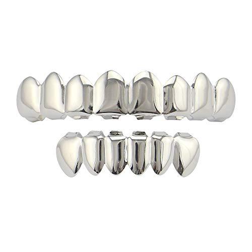 Morph33 Hip Hop Schmuck Gold Zahnspange Gold Plating Glänzende Acht Gold Zahnspange Zähne Grils Gold 8 Top Und 6 Bottom gefälschte Körperteile (Farbe : Silber) -