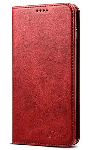 Leder Case Handyhülle Compatible with Samsung Galaxy 10+ Flip Case Handytasche mit Kredit Karten Hülle Geldklammer Unsichtbar Magnet & Stand Funktion Schutzhülle,Rot
