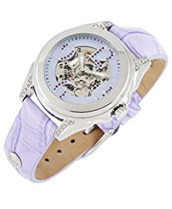 Carlo Monti Modica - Reloj analógico de mujer automático con correa de piel lila - sumergible a 30 metros de Carlo Monti