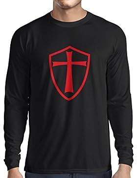 Camiseta de Manga Larga para Hombre Caballeros Templarios - Escudo de los Templarios
