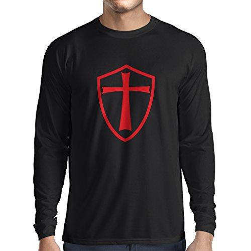 T-Shirt mit Langen Ärmeln Ritter Templer - Die Templer Schild Christian Ritter Ordnung (Large Schwarz Rote) (Assassin's Creed Moderne Assassine Kostüm)