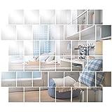 Anladia Wandspiegel Spiegelfliesen Selbstklebend 15 x 15cm, 32 Stück Quadratische Spiegel Silber für Badezimmer, Küche, Wohnzimmer, Umkleidekabine, Büro