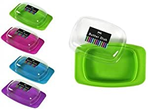 Coloured Butter Dish With Clear Lid - Assorted Colours