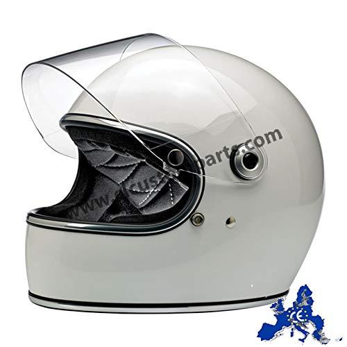Casco Integral Gringo S biltwell Gloss White binco Brillante homologado Doble homologación ECE (Europa) & Dot (América) Helmet Biker Custom Vintage Retro año 70 Small Bianco
