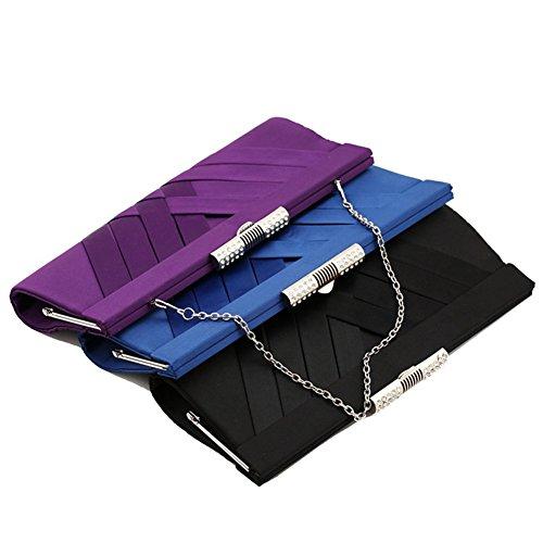 ERGEOB® Femmes Pochette sac de soirée Sac à main Clutch Sacs petit Satin Montres Sacs Sac mariée Sac Tissé noir