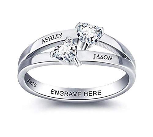 Yanday Personalisierte Mütter Ring mit 2 simulierten Birthstones und Name Promise Rings(Silber 22.9) (Großhandel Schmuck Liefert Machen)