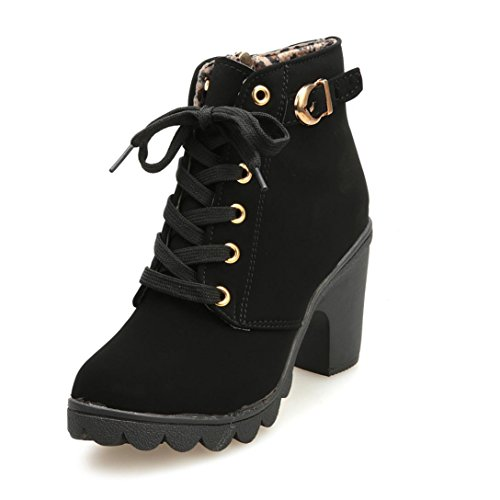 OverDose Frauen Damen High Heel-Ankle-Boots Damen Buckle Plattform Schuhe Leder Stiefel Martin Stiefel