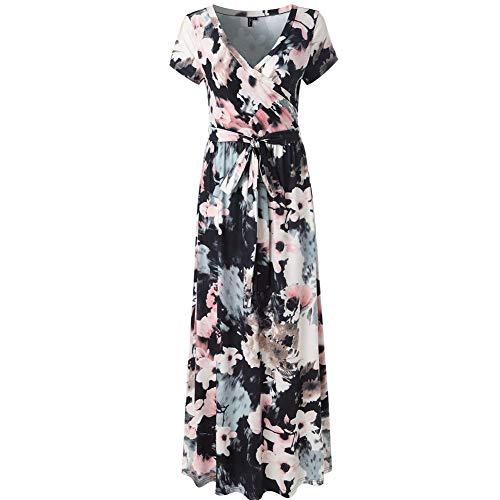 Lover-Beauty Sommerkleider Damen Blumen Maxi Kleid Kurzarm Abendkleid Strandkleid Party XXL Maxi-kleid Kleid