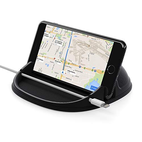 Lanhiem Porta Cellulare Auto, Supporto Auto Smartphone, cruscotto di Auto Silicone Antiscivolo, Supporto Auto per iPhoneX/XS/Max/XR/8/7/6/7S Plus Samsung S10/9/8/7/Huawei/Xiaomi/Sony Xperia/GPS