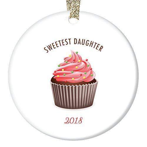 qidushop Cupcake Weihnachtsdekoration für Tochter 2018 süßeste Tochter Geschenk für Stieftochter Baby Kind kleines Mädchen Adoption Überraschung süßer Baum für Ehemann Frau Männer Porzellan Geschenk