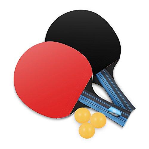 Tischtennis-Set von Lhedon, 2 Premium Tischtennis Schläger & 3 Übungs Tischtennis Bälle mit Tragetasche für im Freien Innen Sportaktivitäten