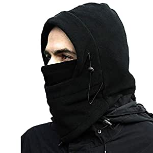 Gajraj Unisex Polar Fleece Thick Warm Full Cover Face Mask/Winter Cap (Black)