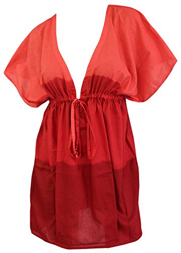 La Leela Strand und Badeanzug weichen Baumwollkleid Hand tiedye vertuschen Kaftan Frauen Glocke rot