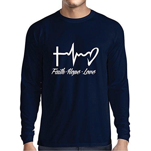 ren t Shirts Glaube - Hoffnung - Liebe - 1. Korinther 13:13, Christliche Zitate und Sprichwörter, Religiöse Sprüche (X-Large Blau Mehrfarben) (Kirche Sprüche Für Halloween)