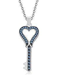 "Silvernshine 1.35 Ct Aquamarine Heart Key Pendant 18"" Chain Necklace In 14K White Gold Fn"