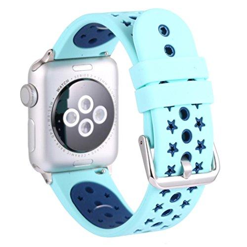 Kaiki für Apple Watch Series1/2 38mm Armband,Neue Art- und Weisesport-Silikon-Armband-Bügel-Band für Apple-Uhr-Reihe 2/1 38mm (Light blue)
