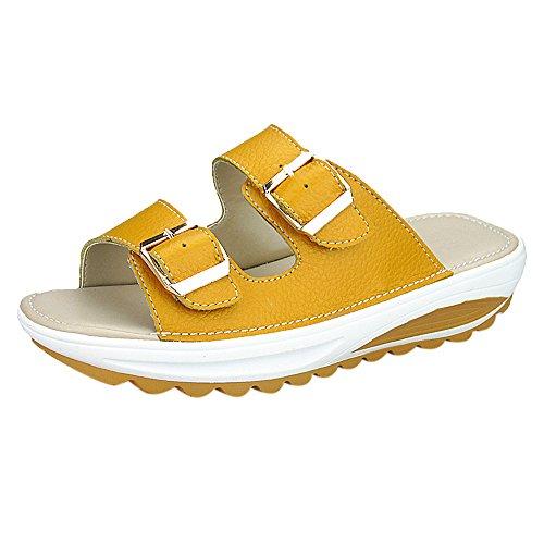 Kunstleder Platform (WWricotta Popular Summer Women Casual Sandals Beach Slipper Peep Toe Platform Soft Shoes(Gelb,38))