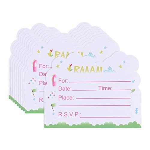 BESTONZON 10 Stücke Dinosaurier Party Einladungen Karten für Kinder Geburtstage Baby Duschen Party Supplies