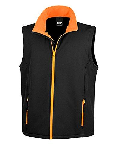 Result Ergebnis r232m bedruckbar Softshell Bodywarmer 3XL schwarz/orange