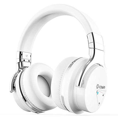 Cowin E7 Active Noise Cancelling Cuffie Bluetooth con microfono Cuffie senza fili Deep Bass Over Ear, comode protezioni Earpads, 30H Playtime per Travel Work TV PC Cellphone - Bianco