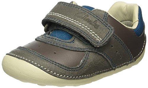 Clarks Baby Jungen Tiny Tay Krabbel-& Hausschuhe, Grau (Grey Leather), 19 EU