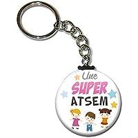Une super ATSEM Porte clés chaînette 38mm ( Idée Cadeau Fin d'année Scolaire École Noël Remerciement )