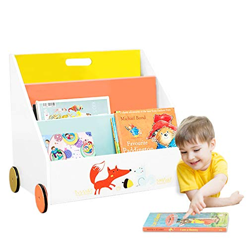 Labebe Kinder Bücherregal, Holz Standregal with Räder, Orange Kiefer 2-in-1 Bücherregal Für Kinder 1-5 Jahre Alt, Regal Bücher Kinder/Klein Bücher Regal/Klein Standregal/Holz Bücherregal