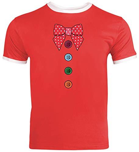 lustige Karneval Gruppen Paar Verkleidung Herren Männer Ringer Trikot T-Shirt Fasching - Clown Kostüm, Größe: 3XL,Red/White