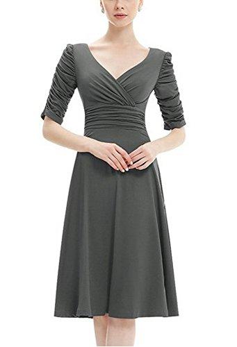 Possec donna vestito cotton v collare maniche corte gonna vestito (l, grigio)