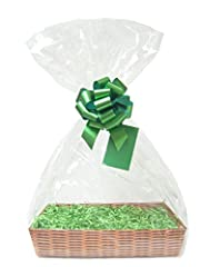 Idea Regalo - Kit cestino fai da te - Vassoio in cartone effetto vimini, carta sfilacciata Manila, fiocco dorato e sacchetto in cellophane, Green, Medium - 30cm x 20cm x 6cm high