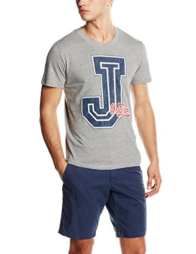 JACK & JONES Herren T-Shirt Jorhusky Tee Ss Crew Neck Grau (Light Grey Melange Fit:MELANGE - SLIM FIT)