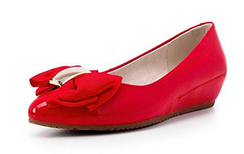 VogueZone009 Femme Verni Pointu à Talon Bas Tire Couleur Unie Chaussures Légeres Rouge