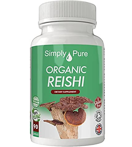 Organic Reishi 90x Capsules, 100% Natural Soil Association Certified, High Strength 450mg, Gluten Free, Vegan, Exclusive to Amazon, Simply Pure, Moneyback Guarantee.
